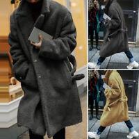 UK Men's Fluffy Fur Fleece Long Coat Winter Warm Sweater Overcoat Jumper Outwear