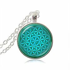 Green Flower Pendant Necklace Flower of Life Necklaces Yoga Necklace Mandala