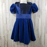 Laura Ashley Mother & Child Girls Dress 2 1/2 - 3 yrs Blue Velvet w/ Satiny Bows