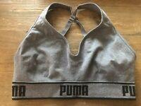 Puma Seamless Sports Bra Medium Impact Moisture Wicking Size Large Gray Color