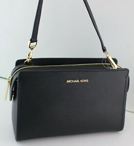 NEW AUTHENTIC MICHAEL KORS LESLIE BLACK MD MESSENGER CROSSBODY WOMEN'S HANDBAG
