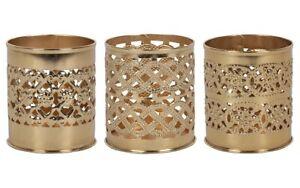 Kasbah Set of 3 Decorative Gold Tea Light Holders Bohemian Home Decor Boho