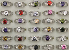 LOT DE 30 BAGUE Mix Multicolore rings Femme Wedding CZ Bagues NEUF