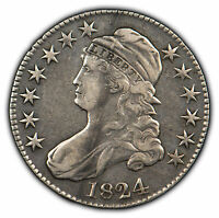 1824 50c Capped Bust Half Dollar - XF/AU - SKU-H1012