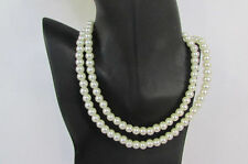"New Women 18"" Extra Long Strand Imitation Pearl Beads Classic Fashion Necklace"