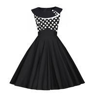 Flared Plus Rockabilly Swing Dress Vintage Retro Polka Dot 50s Style Black Pinup