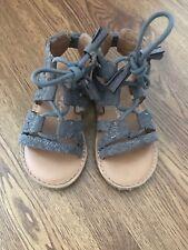 Next Girls Grey Lace Up Sandals UK Infant 7