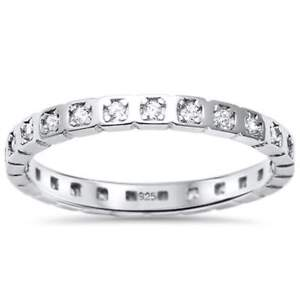 Simulated Diamond Square Setting Sterling Silver Eternity Ring