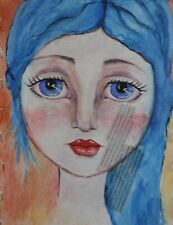"""ORIGINAL 9""""x""""12 painting whimsical blue portrait girl Watercolor Signed ART"""