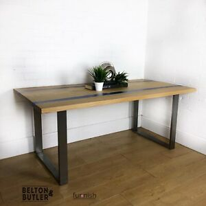 Solid Oak and Blue River Hand Poured Resin Dining Table With Metal Frame Legs