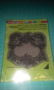 Stampendous cling rubber stamp - Ribbon Rose Frame