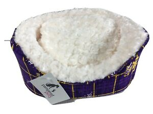 NEW LSU Pampered Pets X Small Dog Bed Louisiana State University Collection Oval