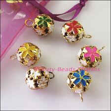 8Pcs Mixed Aluminum Star Flower Christmas Bell Charms Pendants 14mm