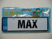 Embossed Metal Name ID Plate - MAX - For Bike/Door/Locker/Scooter