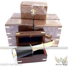 VINTAGE ANTIQUE BRASS TELESCOPE MARINE NAUTICAL PIRATE SPYGLASS SET OF 10 W BOX