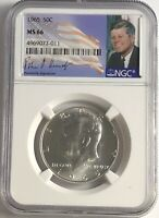 1965 P NGC MS66 SILVER KENNEDY HALF DOLLAR JFK COIN SIGNATURE 50c