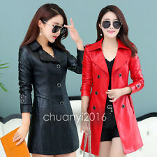 2017 Fashion Women Winter Windbreaker Leather Coat Long Slim Windbreaker Jacket