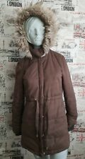 H&M Divided Khaki Green Winter Jacket Parka With Faux Fur Hood Size 12 UK