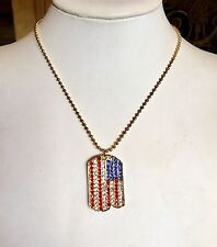 BEAUTIFUL PATRIOTIC FLAG DOGTAG NECKLACE FABULOUS!!!