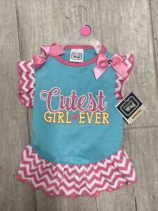 "SIMPLY WAG Aqua Pink  ""CUTEST GIRL EVER"" Dress Puppy/Dog small"