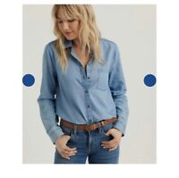 Lucky Brand Chambray Womens Top Size XS Blue Long Sleeve Button Down Shirt