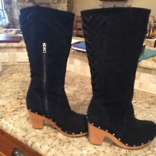 Uggs ~ Tall Black Suede Boots w/ Wooden Heels ~ US 10 slids on the back side New