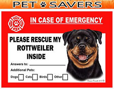Rottweiler Pet Savers Emergency Rescue Window Cling Sticker