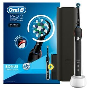 Oral-b PRO 2 2500 BLACK EDITION 3D Electric T/brush + Travel Case *NEW- GENUINE*