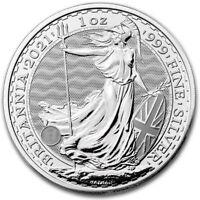 2021 Silver Britannia 1oz Silver Coin in Rimless Coin Capsule