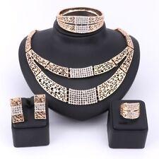African Costume Women Wedding Bridal Crystal Necklace Earring Duba Jewelry Set