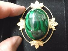 (BR-408) green Malachite gemstone on gold scrolled leaf oval brass pin pendant