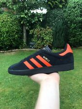 Adidas Originals Gazelle Black Suede Orange Brussels Casual Trainers-UK 7 9 11