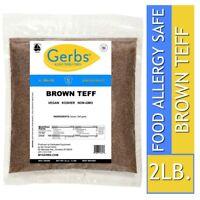 Brown Teff, 2 LBS Food Allergy Safe, Keto, Vegan & Non GMO by Gerbs