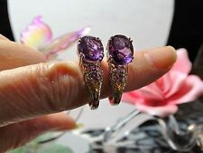 Purple Fluorite, Amethyst Earrings in Platinum Over 925 SS
