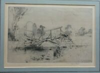Sir Frank Short Original Etching of the Anglers Bridge over river Wandle signed
