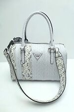 GUESS Handbag*Bay View*White/Grey/G Logo Python Print Satchel Shoulder Purse New