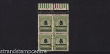 Germany - 1923 (Nov) 5md on 4m Yellow-Green - Frankfurt OPD - BLOCK of FOUR