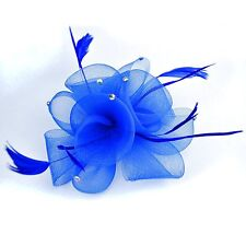 Fascinator bouquet flor pedrería pelo joyas Royal azul pelo broche clip nuevo