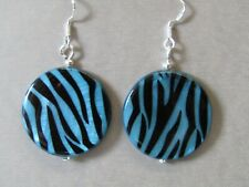 Blue Tiger Print Mother of Pearl Shell Drop Sterling Silver Earrings Stunning!!