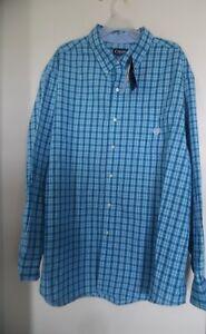 CHAPS Men's Big & Tall Easy Care Blue Button Down Long SV Shirt 3XB NWT