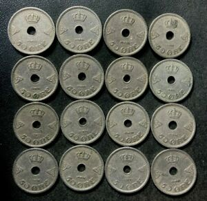 Vintage Norway Coin Lot - 50 ORE - 1926-1945 - 16 Great Scarce Coins - Lot #L19