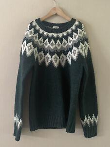 LL Bean Women's 100% Lambswool Evergreen Fair-isle Pull-Over Sweater Size  XS