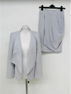 ZARA WOMAN Ladies Grey Shawl Lapel Long Sleeve Jacket & Overlapping Skirt Suit S