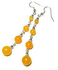 Very Long Yellow Earrings Agate Jade Gemstone Bead Silver Pierced Boho Hippy