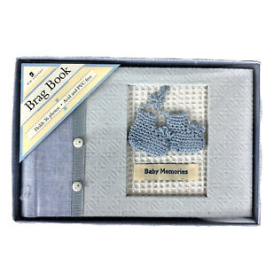 Baby Shower Gift Baby Boy Photo Brag Book NEW Holds 36 Photos Acid and PVC Free