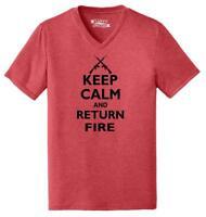 Mens Keep Calm & Return Fire Funny Guns Rights Shirt Triblend V-Neck Gun Rights