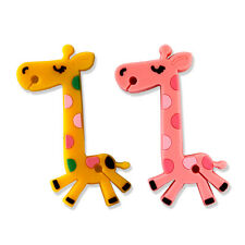 2x Cute Giraffe Earphone Headphone Cable Cord Wrap Rubber Yellow Pink