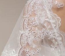 Scintillant ! Superbe voile de mariée brodé à sequins brillants blanc pur V14-3m