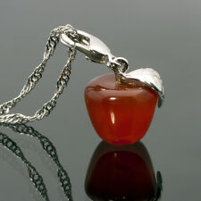 Xmas Women Apple Red Agate Natural Stone White Gold Gp Pendant Necklace Chain