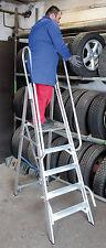 Alu Podestleiter , 1 x 7 Stufen, 175cm Podesthöhe,  ganze Stufe, Handlauf